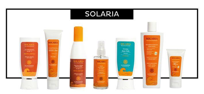 Scopri la linea Solaria di Almagreen, i prodotti naturali per un'abbronzatura o protezione efficace e sicura.
