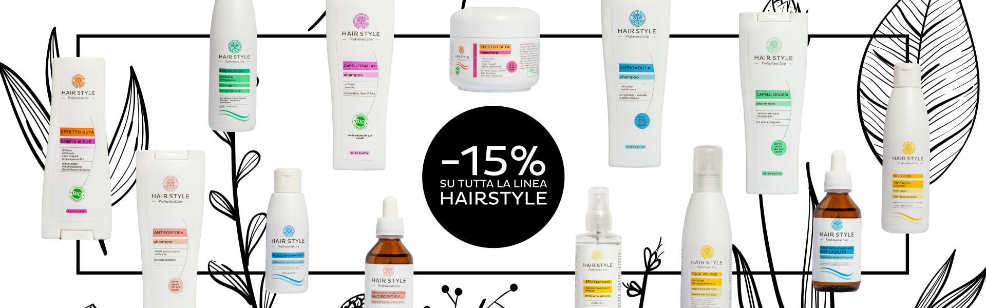 Sconto del 15% sulla linea Hairstyle - Linea Capelli - www.almagreen.com