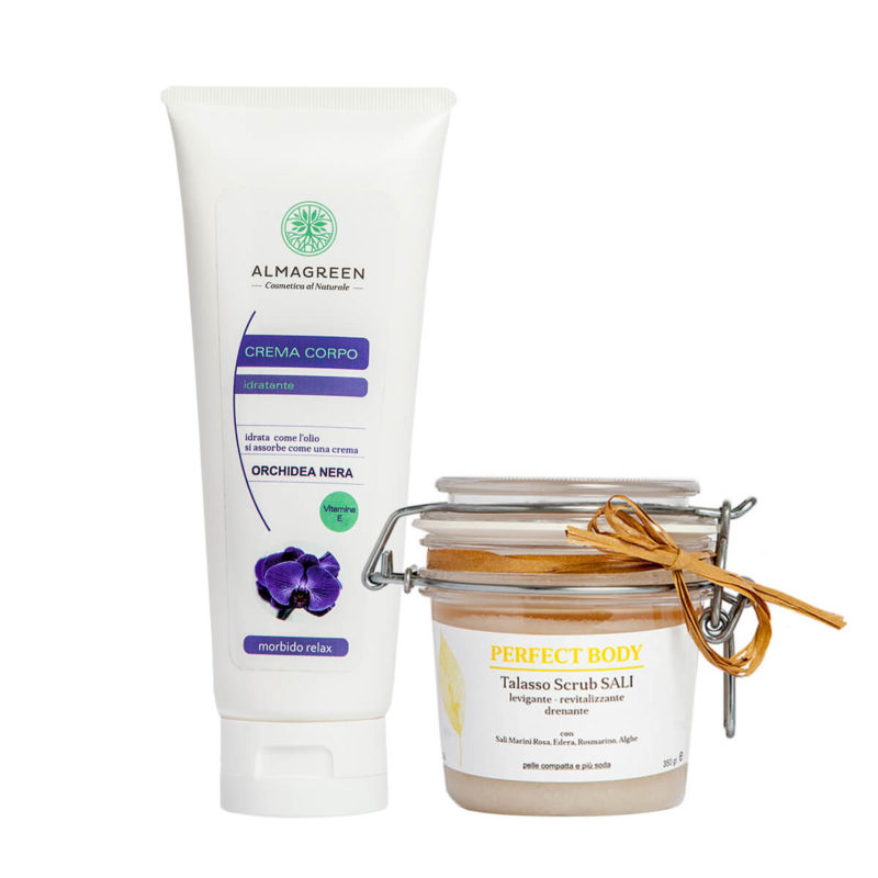 Kit Corpo Naturale: Talasso Scrub ai Sali Marini e Alghe più Crema Idratante nutritiva all'Orchidea Nera