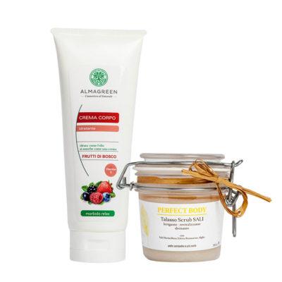 Kit Corpo Naturale: Talasso Scrub ai Sali Marini e Alghe più Crema Idratante nutritiva profumata ai frutti di bosco