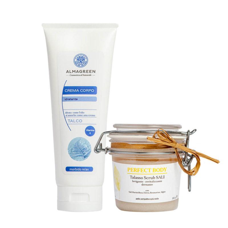 Kit Corpo Naturale: Talasso Scrub ai Sali Marini e Alghe più Crema Idratante nutritiva profumata al talco