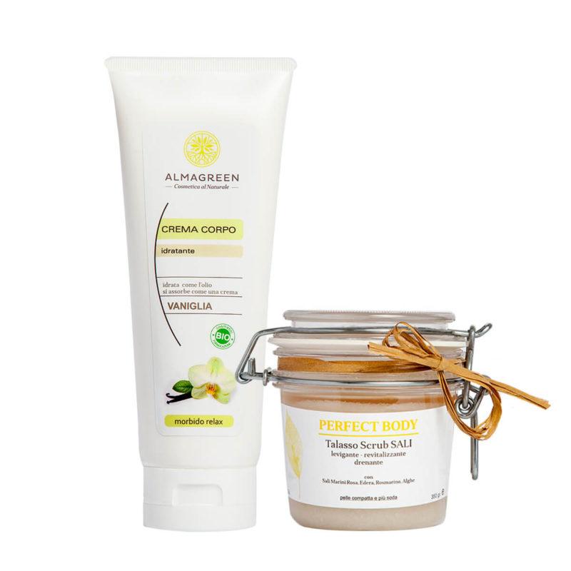 Kit Corpo Naturale: Talasso Scrub ai Sali Marini e Alghe più Crema Idratante nutritiva profumata alla vaniglia