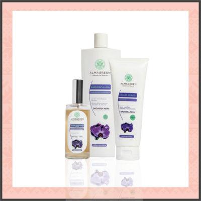 """Set Regalo Cosmetici Naturali: Set Prodotti Corpo """"Orchidea Nera"""" - Almagreen"""