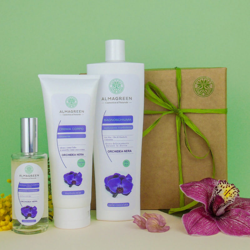 """Box Regalo Festa della Donna prodotti naturali profumati """"Orchidea nera"""": bagnoschiuma, crema, acqua profumata"""