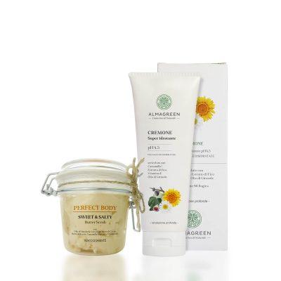 Kit Sweet & salty Butter Scrub corpo antipollution e cremone super idratante pelli secche e disidratate - Almagreen - Cosmetica al Naturale